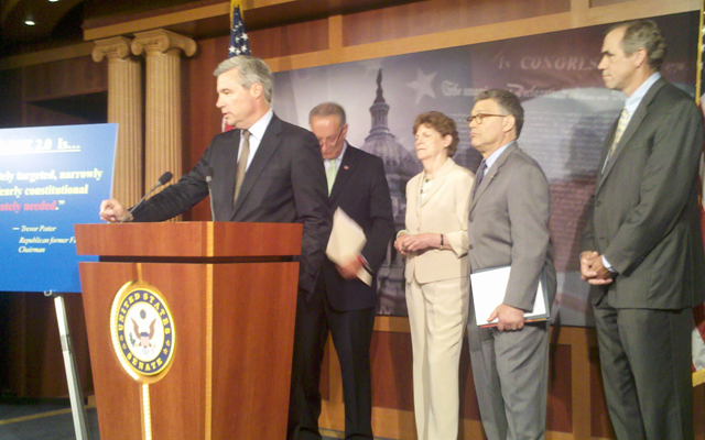 Senators Whitehouse, Schumer, Shaheen, Franken, and Merkley discussing the DISCLOSE Act on July 12, 2012