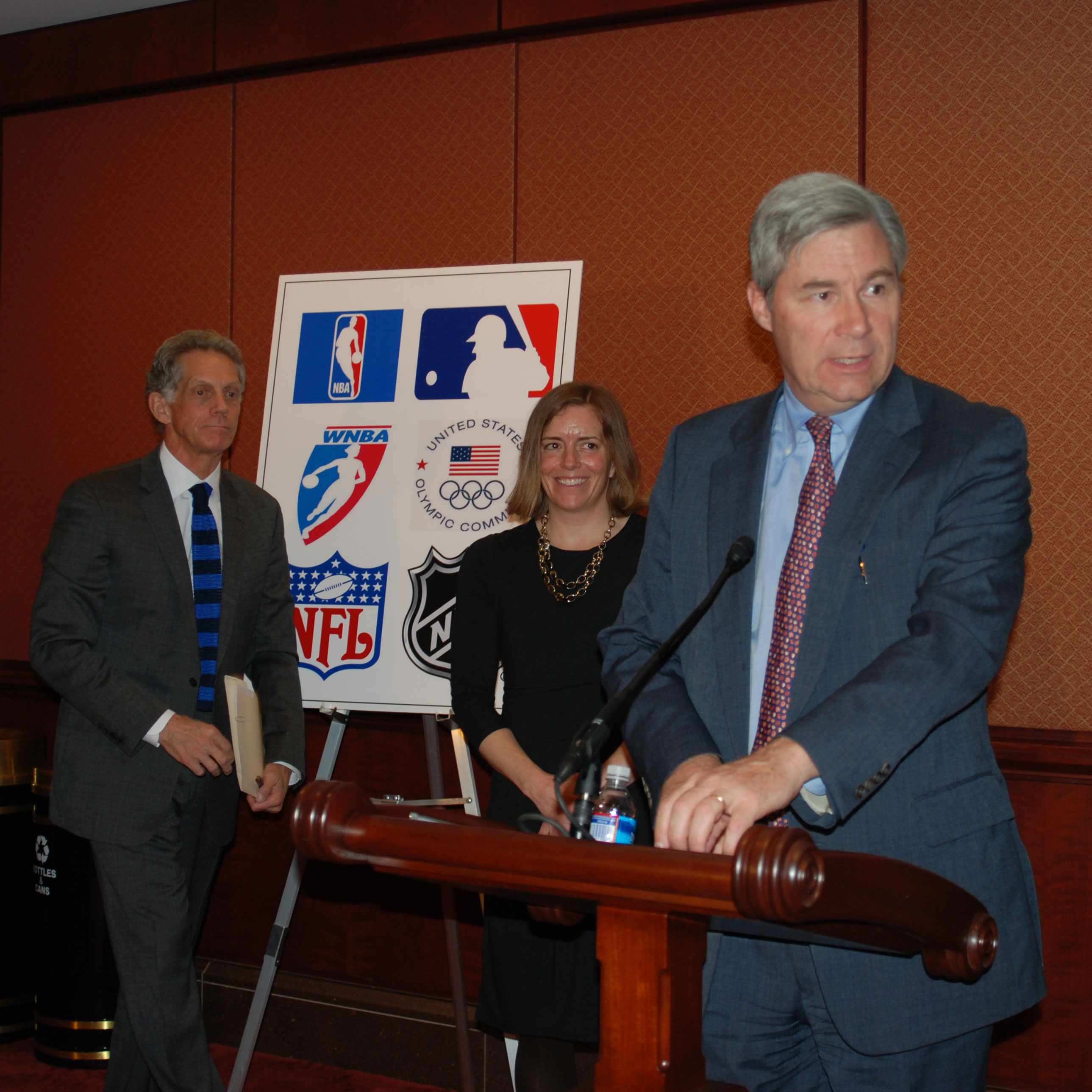 Senator Whitehouse, pictured here with representatives from the MLB and the US Olympic Committee
